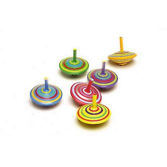 Mini Gyros for Spinning - Wooden Toy Gyros Set of 6 with Colorful Painting and Patterns for a Great Effect when Turning !