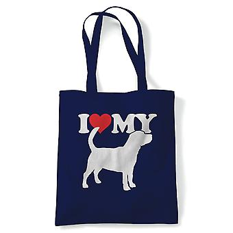I Love My Beagle Tote - Reusable Shopping Canvas Bag Gift