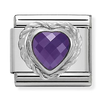 Nomination Classic Faceted Purple Heart Steel, CZ and 925 Silver Link Charm 330603/001