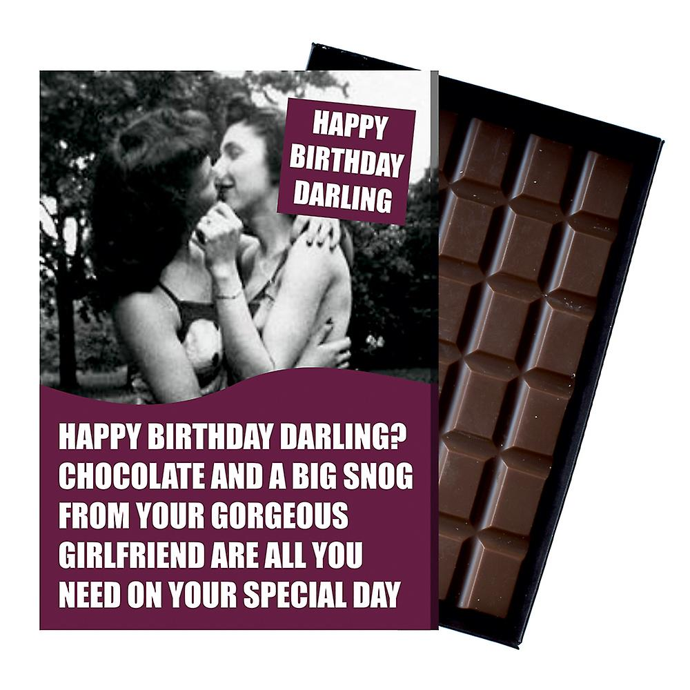 Funny Lesbian Birthday Gift For Civil Partner LGBT Queer Chocolate Greeting Card Present CDL219
