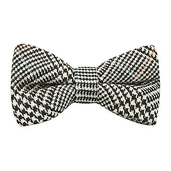 Black & White Dogtooth Tweed Bow Tie