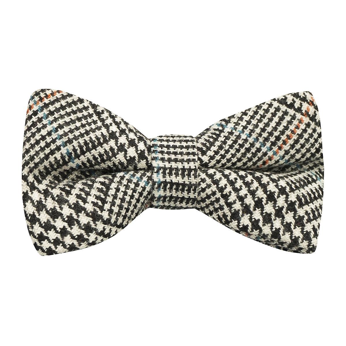 Black & White Dogtooth Tweed Bow Tie