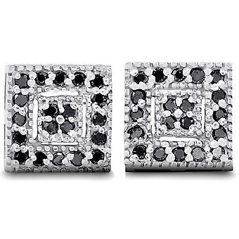 1 / 3ct проложить черный алмаз шпильки 10K Белое золото