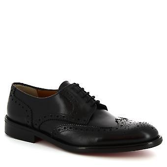 Leonardo schoenen mannen ' s handgemaakte Lace-ups derby's schoenen in zwart kalf leer