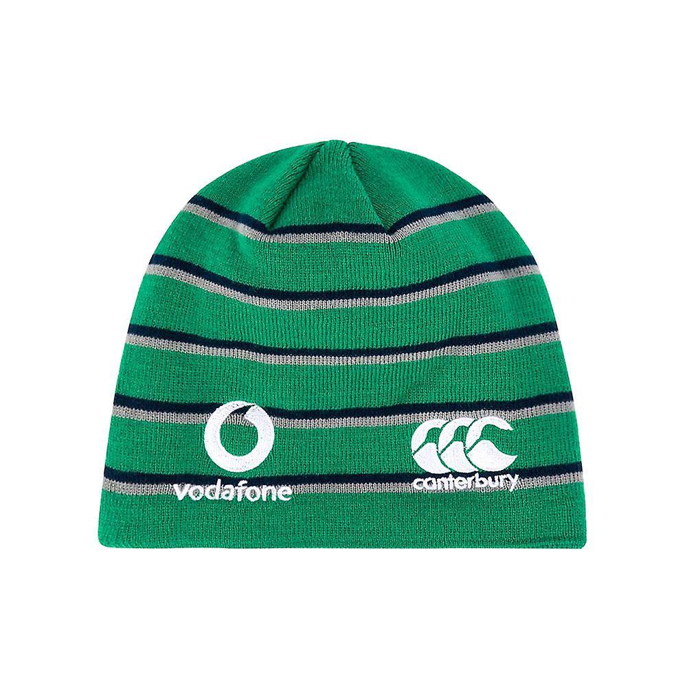Canterbury Ireland IRFU Acrylic Fleece Lined Rugby Beanie Hat Green