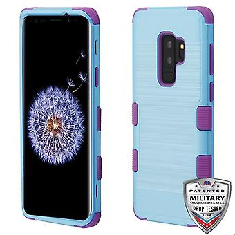 MYBAT Metallic Baby Blue Brushed/Electric Purple TUFF Hybrid Phone Protector Cover for Galaxy S9 Plus