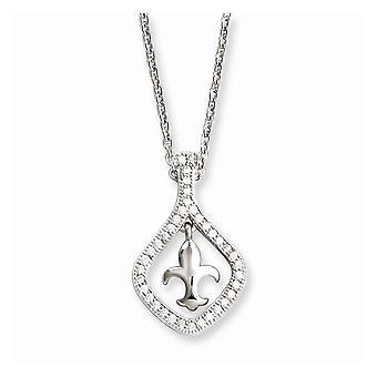 925 Sterling Silber Hummer Kralle Verschluss und CZ Zirkonia simuliert Diamant brillante Embers Fleur De Lis Halskette
