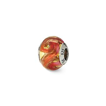 925 Sterling Silber poliert antike Finish italienischen Murano Glas Reflexionen gelb rot Orange italienischen Murano Perle Charme