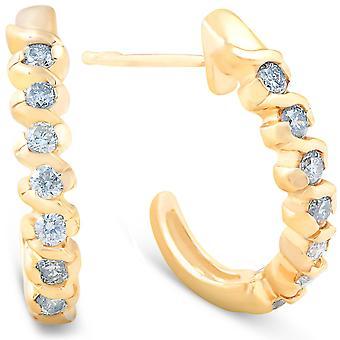 3 / 8ct diamant boucles d'oreilles 14K or jaune