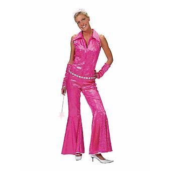 Disco Groovy Damenkostüm Glitzer Bling Jumpsuit Party Mottoparty Kostüm Damen