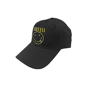 Nirvana Baseball Cap Band Logo and Smiley new Official Black Strapback