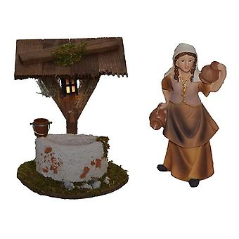 Fountain drawing fountain with wooden roof and shepherdess for nativity nativity nativity scene nativity scene nativity accessories