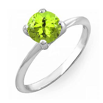 Dazzlingrock Collection 14K 6mm Round Cut Peridot Solitaire Bridal Engagement Ring, White Gold