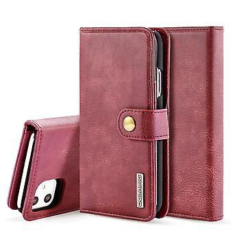 Dg. MING iPhone 11 Split Leather wallet Case-red