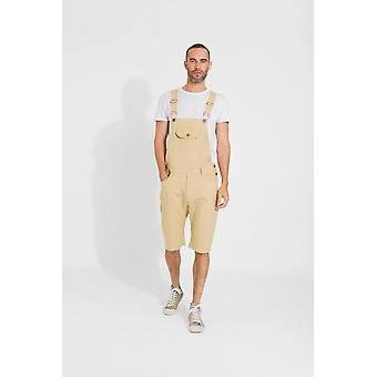 Jesse mens slim fit cotton dungaree shorts - sand