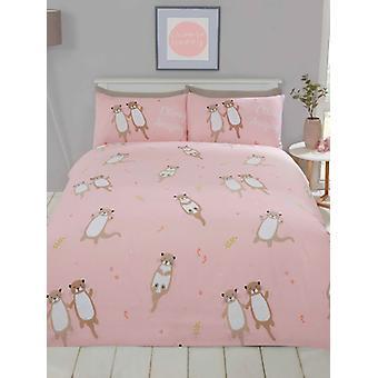 Otterly erstaunliche Otter einzelne Bettbezug Set - Koralle rosa