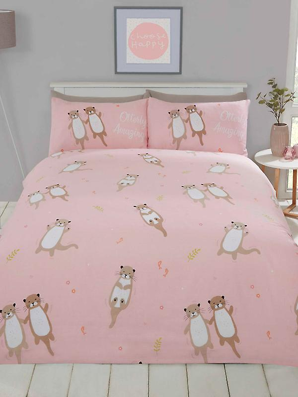 Otterly Amazing Otters Single Duvet Cover Set - Coral Pink