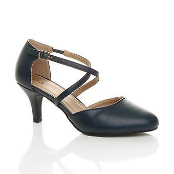 Ajvani Frauen Mitte High High Heel strappy Crossover Hochzeit Abend Sandalen Schuhe