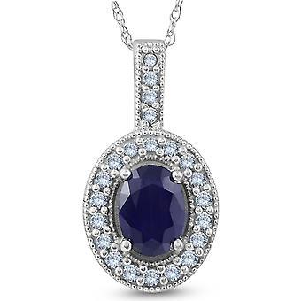 Ovale bleu saphir diamant Solitaire pendentif 14K or blanc