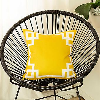 Yellow and White Geometric Decorative Throw Pillow Cover
