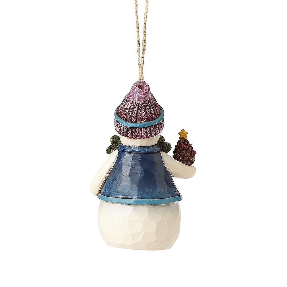 Jim Shore Heartwood Creek Snowman With Pine Cone Mini Hanging Ornament