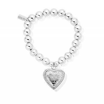 ChloBo SBMB014 Women's Medium Ball Scallop Heart Bracelet