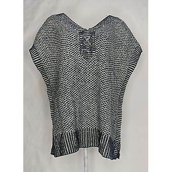 Isaac Mizrahi Live! Kvinner & apos; s Pluss genser TRUE DENIM Poncho Blå A303206