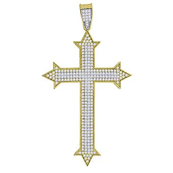 10k Gold Two tone CZ Cubic Zirconia Simulated Diamond Mens Cross Height 74.3mm X Width 41.1mm Religious Charm Pendant Ne