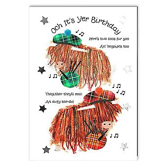 Embroidered Originals Highland Coos With Bagpipes Birthday Card