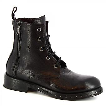 Leonardo Shoes Women's handmade lace-ups ankle boots black calf leather side zip