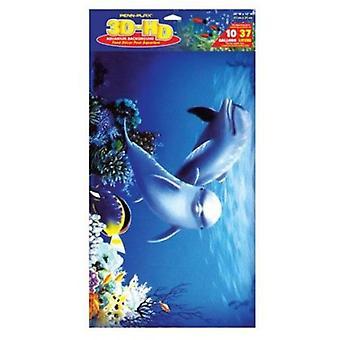 Sandimas Poster Aquarium 3D Dolphins (Fish , Decoration , Backgrounds)