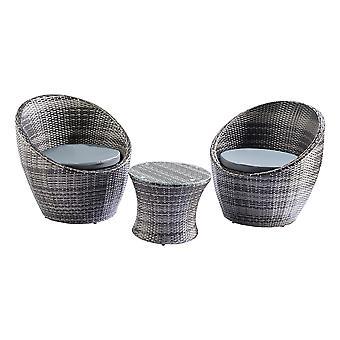 Trueshopping Toledo 3 Piece Rattan Egg Vase Set Bistro Garden Furniture Set Grey