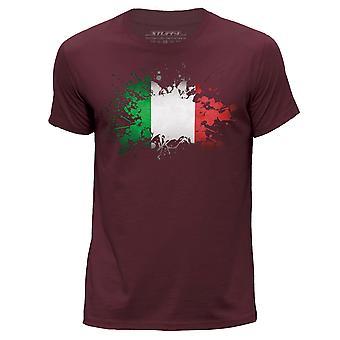 STUFF4 Men's Round Neck T-Shirt/Italy/Italian Flag/Burgundy