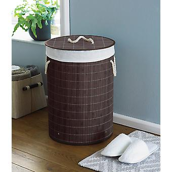 Country Club Round Bamboo Laundry Basket, Dark Brown