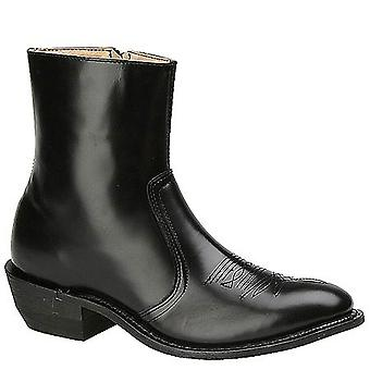 """Leather Classics Mens 7 1/2"""" Western Leather Almond Toe Ankle Western Boots"""