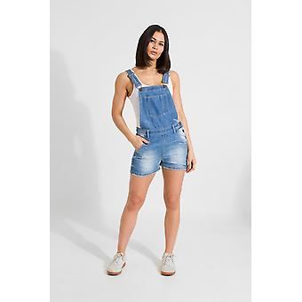 Xenya womens oversized denim dungaree shorts light wash Xenya womens oversized denim dungaree shorts