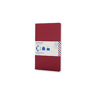 Moleskine postal notebook large cranberry red