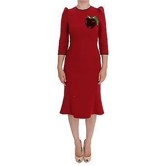 Dolce & Gabbana Red Wool Stretch Apple Crystal Dress GE10021-40