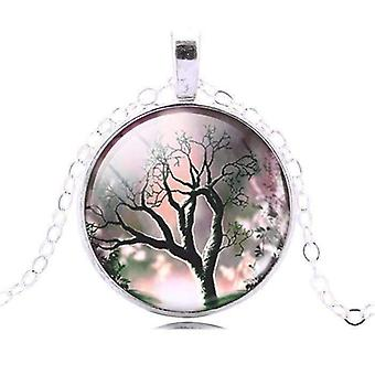 Glass cabochon medallion necklace - black and pastel