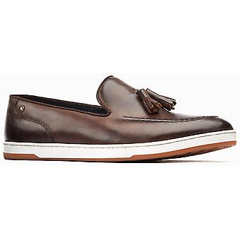 Basis Londen Mens Pogo Burnished Slip On Loafer Brown