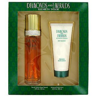 Elizabeth Taylor diamanten & Emeralds Gift Set 100ml EDT + 100ml-bodylotion