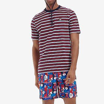 FILA Hugh Yarn Dyed Striped T-Shirt - Navy/Red