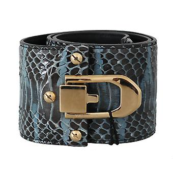 Dolce & Gabbana Blue Leather Gold Buckle Wide Waist Belt