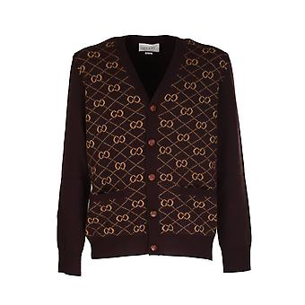 Gucci 630396xkbfb2100 Men's Brown Wool Cardigan