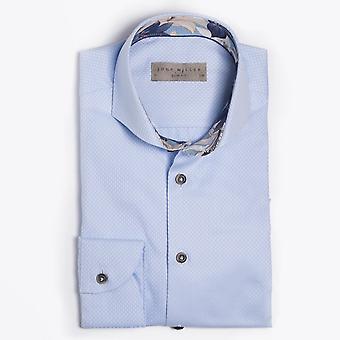 John Miller - Jacquard Easy Iron Shirt - Mid Blue