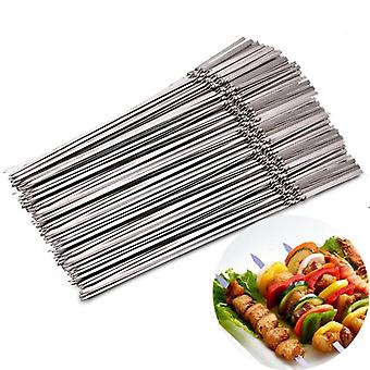 Reusable Flat Stainless Steel Barbecue Skewers Needle Stick