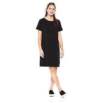 Brand - Daily Ritual Women's Terry Cotton and Modal Roll-Sleeve Sweatshirt Dress, Black, Medium