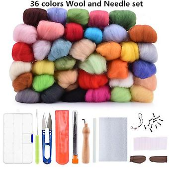 Wool Felt Needle Felting Fabric Craft Starter Kit - Yarn Roving DIY Fox Spinning Sewing Mold Needlework Accessories