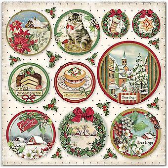 Stamperia Classic Christmas Rounds 12x12 Calowe arkusze papieru (10szt) (SBB704)