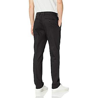 Goodthreads Men's Athletic-Fit Wrinkle Free Dress Chino Pant, Black Pinstripe, 34W x 34L